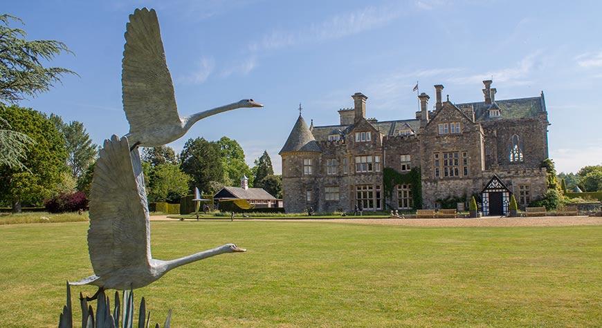 Bird sculpture in front of Palace House, Beaulieu