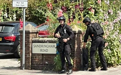 Armed police on the streets of Petersfield