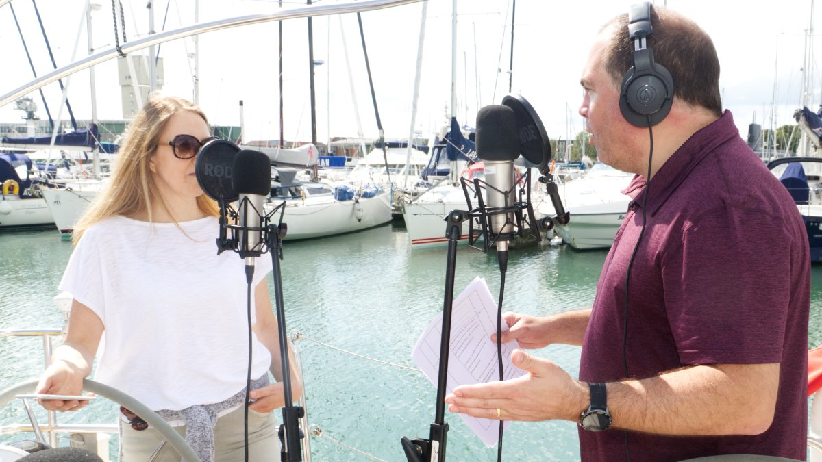Claire and Joff on Alan's boat in Gosport