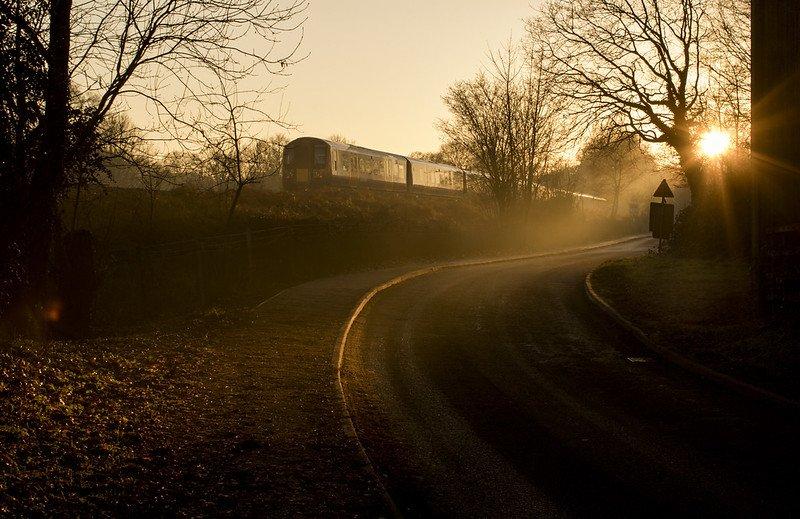 A train alongside Long Road between Tilmore and Sheet