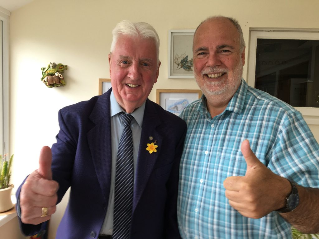 David Weeks gives the 'Thumbs up' with Shine radio's Dave Williams
