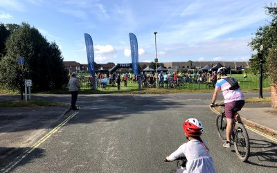 Cyclists gather for the Petersfield Ups and Downs 2021 on The Avenue