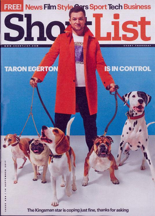 Front cover of Shorlist magazine, featuring actor Taron Egerton and fie dogs, one of which is Alfie the dalmatian.